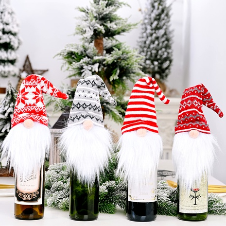 Christmas decorations knitted hats wine bottle cover NHHB291381's discount tags