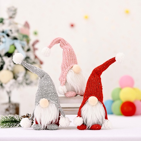 Christmas Red Forest Elderly Knitted Hat Doll Decoration NHHB291384's discount tags