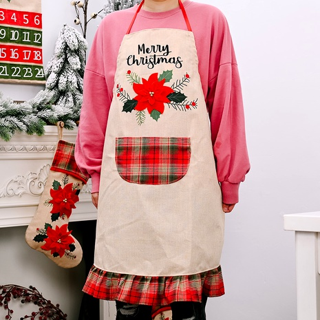 Christmas red flower linen apron  NHHB291387's discount tags