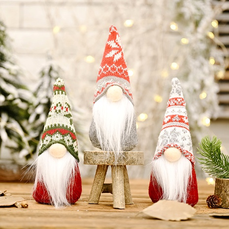 Snowflake Knitted Hat Forest Elderly Doll Christmas Decoration  NHHB291396's discount tags