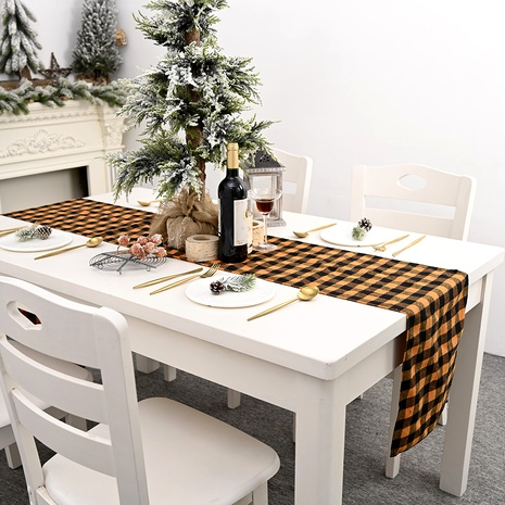 Decoraciones navideñas de mantel a cuadros naranja NHHB291397's discount tags