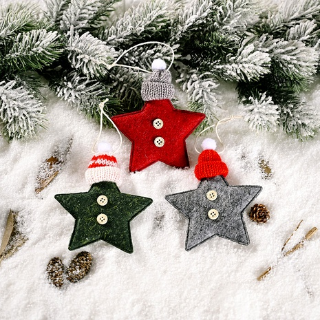 Knitted Hat Five-pointed Star Small Pendant Christmas Decoration  NHHB291398's discount tags
