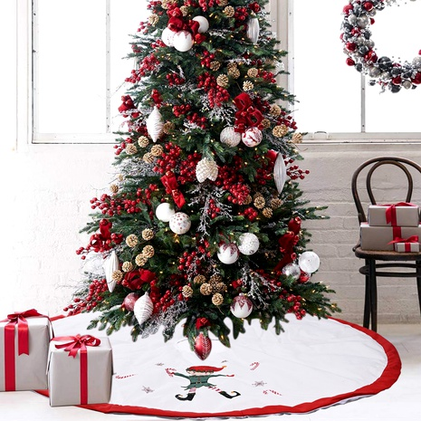Decoraciones navideñas Falda de árbol de lino de elfo rojo y blanco NHHB291399's discount tags