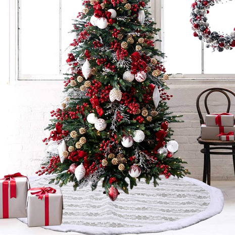 Christmas decorations gray snowflake knitted tree skirt NHHB291402's discount tags