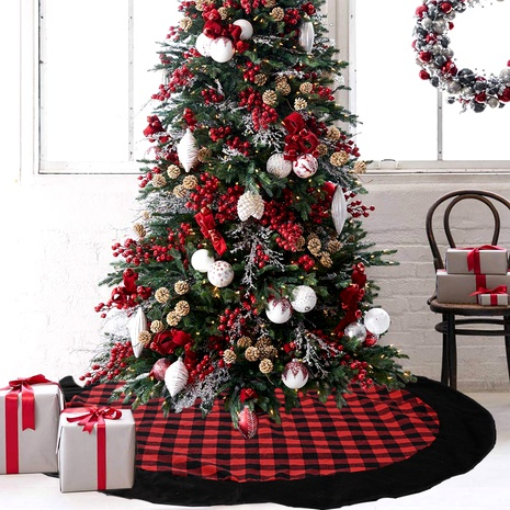 Christmas decoration red and black plaid flannel tree skirt NHHB291406's discount tags