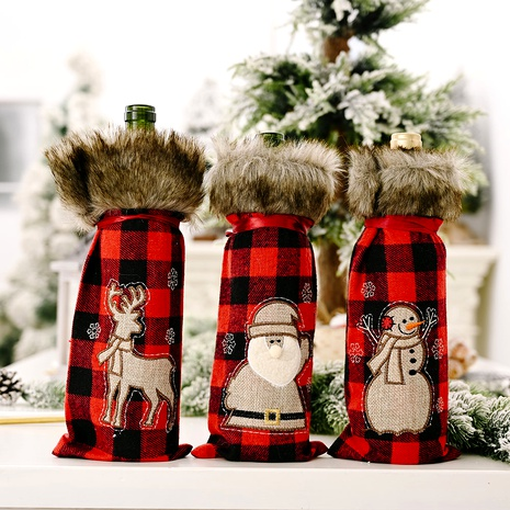 rotes Gitter Santa Claus Elk Weinflaschendeckel NHHB291410's discount tags