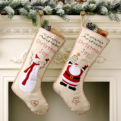 Bolsa de regalo colgante de calcetines de Navidad bordados de lino NHHB291411's discount tags