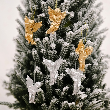 Gold and Silver Angel Pendant Christmas Tree Ornament NHHB291413's discount tags