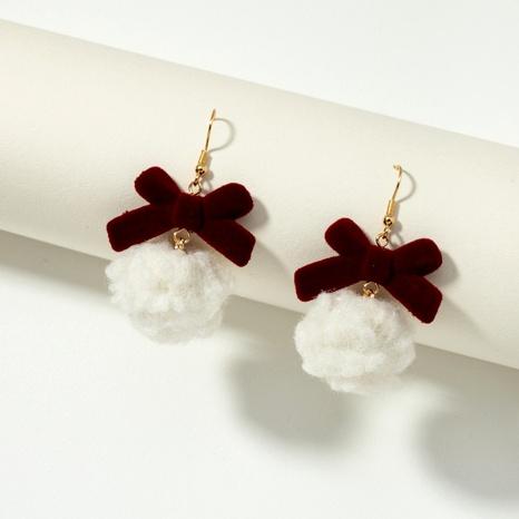 hair ball bow plush Christmas earrings NHQJ291428's discount tags