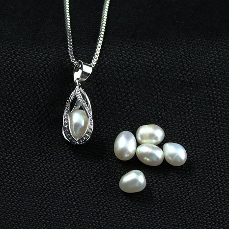 Openable hollow spiral water drop pearl necklace  NHAN291446's discount tags
