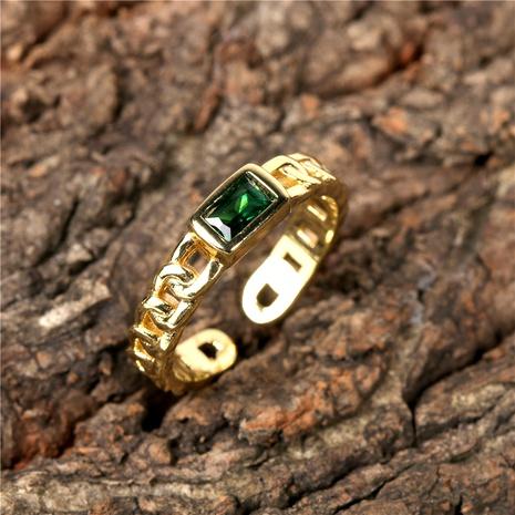 anneau ouvert rétro en cuivre micro incrusté de zircon en gros NHPY291474's discount tags