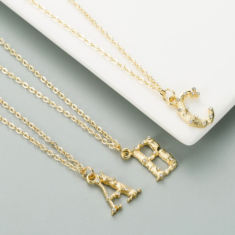 fashionable 26 English alphabet alloy micro-inlaid zircon necklace NHLN291506's discount tags