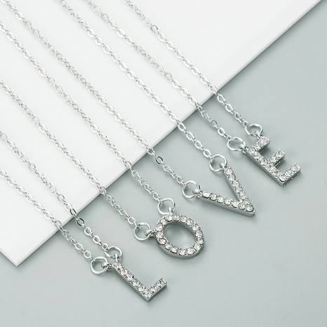 26 English letter alloy diamond necklace NHLN291513's discount tags