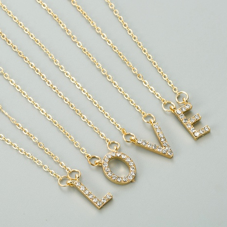 alloy rhinestones 26 letter pendant necklace NHLN291517's discount tags