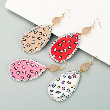 drop-shaped alloy inlaid rhinestone leather print earrings NHLN291518's discount tags