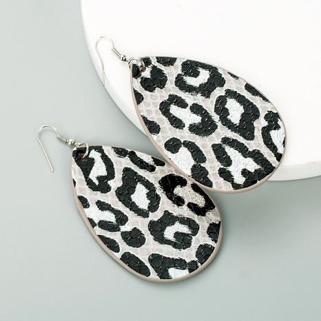 drop-shaped double-sided PU leather snakeskin pattern earrings NHLN291521's discount tags