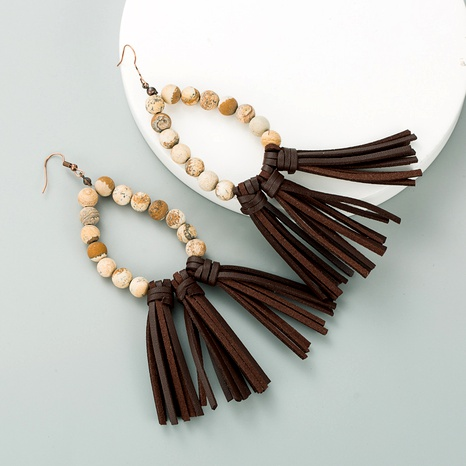 natural stone long leather tassel earrings  NHLN291522's discount tags