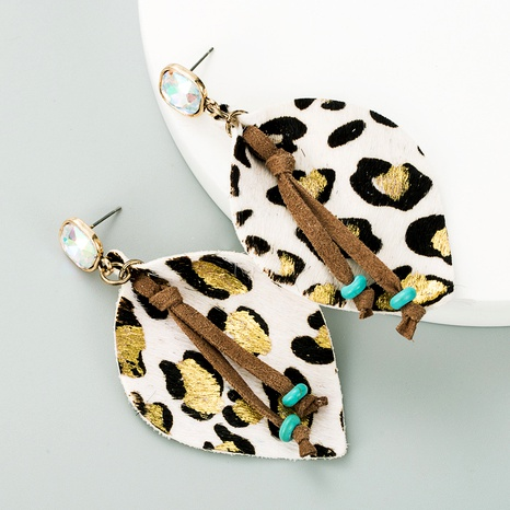 leather leopard print bronzing diamond earrings  NHLN291523's discount tags