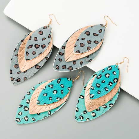 leather print leaf shape earrings  NHLN291525's discount tags