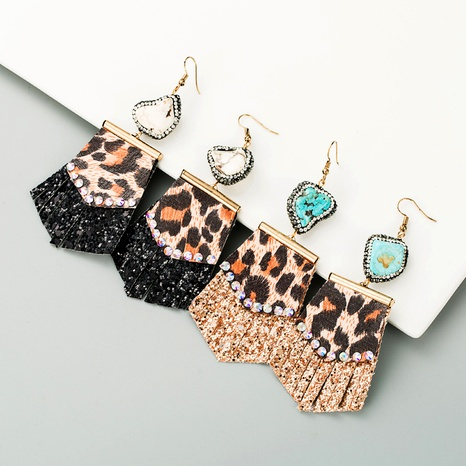leopard print leather diamond earrings  NHLN291526's discount tags