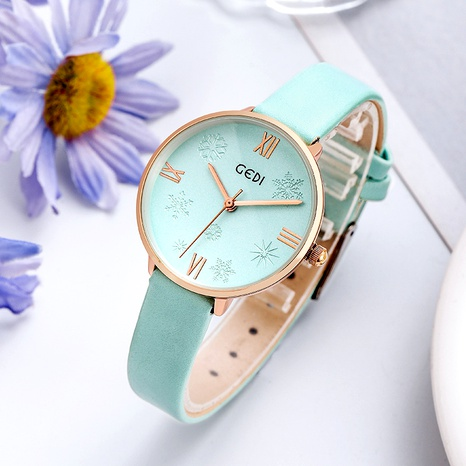 Round Dial Snowflake Literal Women's Watch  NHSR291010's discount tags