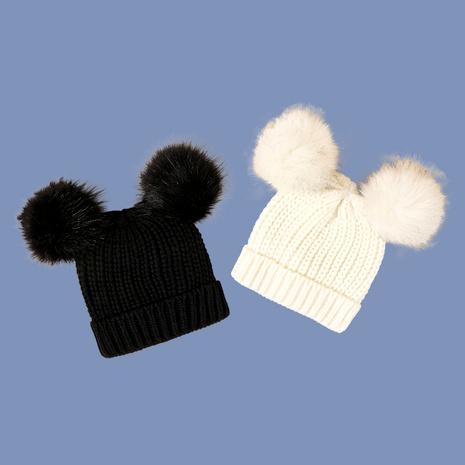 Gorro de punto de bola de dos lana negro NHTQ291034's discount tags