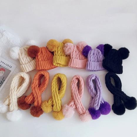 warm children's two-piece hat scarf  twist knitted hat NHQU291076's discount tags