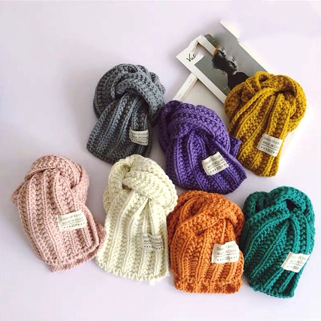 Korean bright color solid color children's knitted scarf  NHQU291081's discount tags