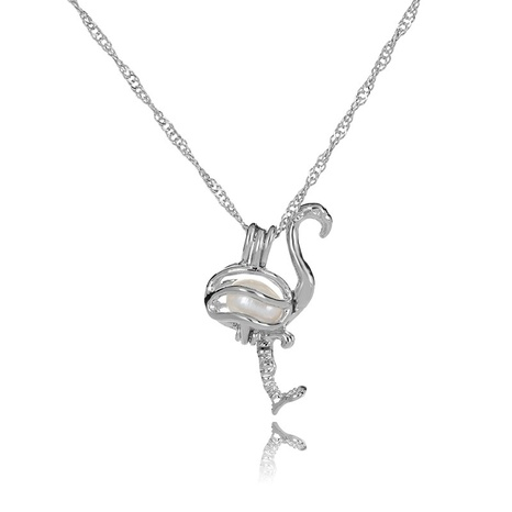 simple pearl flamingo pendant necklace  NHAN291109's discount tags