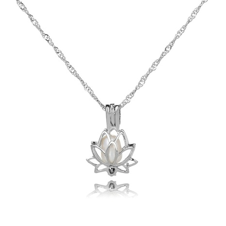 simple pearl lotus cage pendant necklace  NHAN291108's discount tags