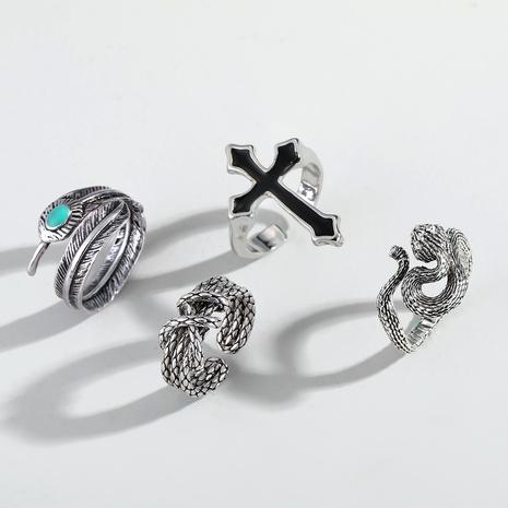 Juego de anillos de cruz de metal retro de serpiente punk NHGO290824's discount tags