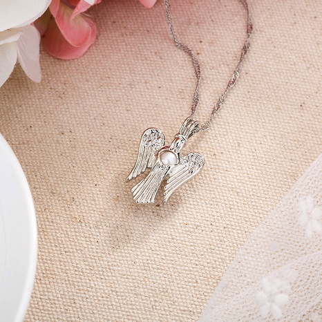 Angel Wing Pearl Necklace NHAN291092's discount tags
