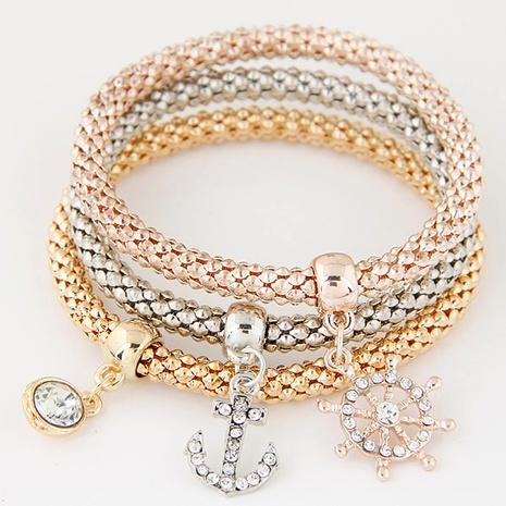 fashion diamond anchor pendant multilayer bracelet NHSC291810's discount tags