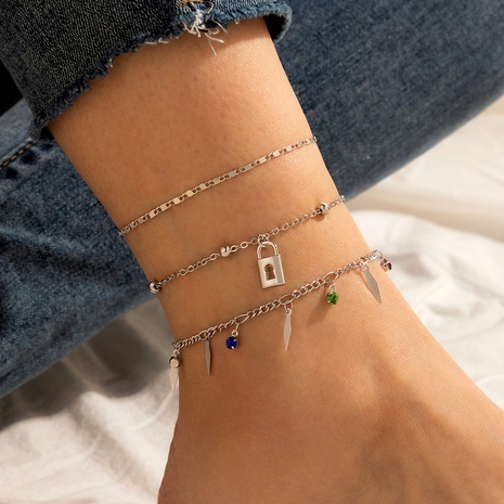 retro simple lock pendant anklet  NHGY291813's discount tags