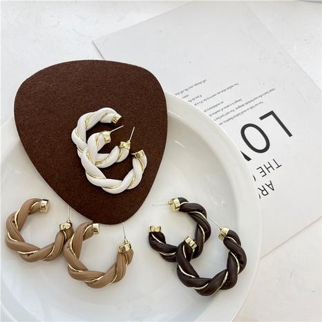 S925 Silver Needle Metal Twist Wrap C-Hoop Earrings NHQC291546's discount tags