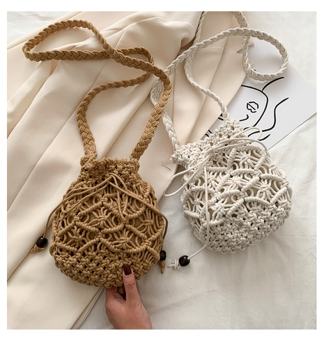 straw woven cotton rope bucket small bag NHTG291560's discount tags