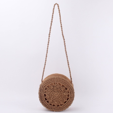 beach style woven  round shoulder bag NHTG291561's discount tags