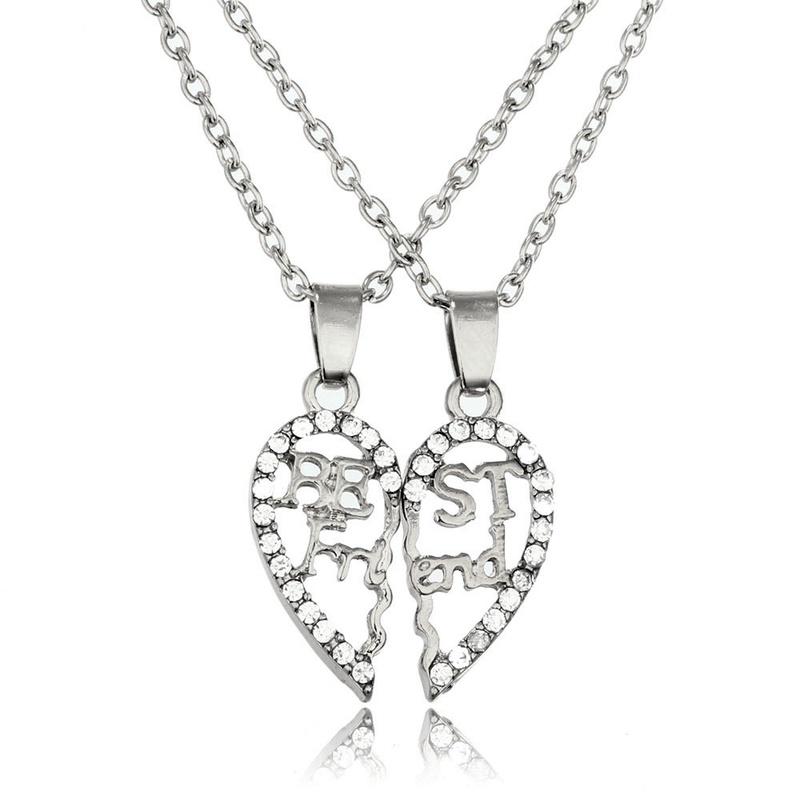 hollow stitching best friend 2 necklaces NHAN291909