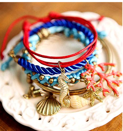 5-piece set of shells starfish fashion bracelet NHSC292177's discount tags