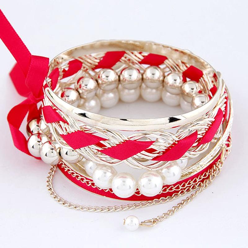 Korean Fashion Bowknot Pearl Multilayer Bangle NHSC292176