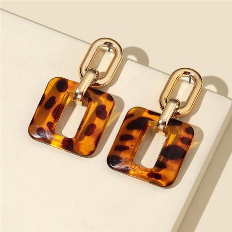retro leopard print acrylic big earrings chain stud earrings NHQC291548's discount tags