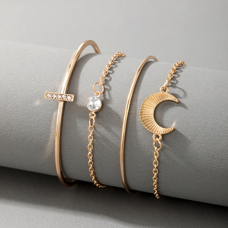 exaggerated popular moon diamond alloy chain bracelet NHGY292134's discount tags