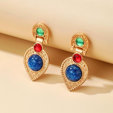 Boucles d'oreilles incrustées de pierres précieuses exotiques longues en or NHGY292127's discount tags