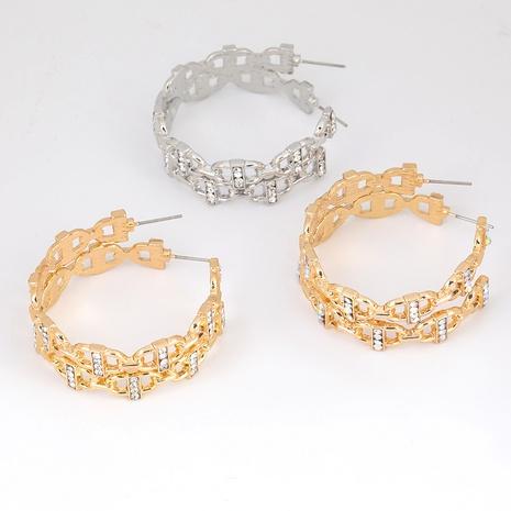 Boucles d'oreilles en alliage en forme de C cloutées de diamants NHJE291937's discount tags