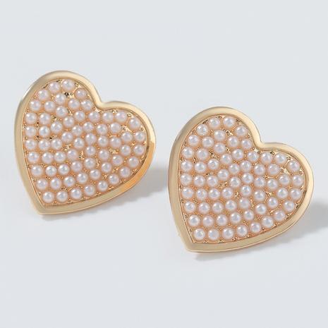 Legierung Nachahmung Perle Herz Ohrringe NHJE291938's discount tags
