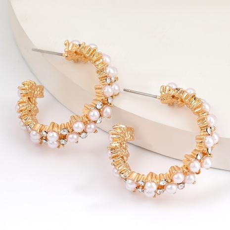 Boucles d'oreilles en alliage en forme de C cloutées de diamants NHJE291941's discount tags