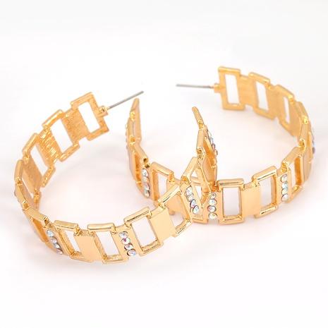 Boucles d'oreilles en alliage en forme de C cloutées de diamants NHJE291949's discount tags