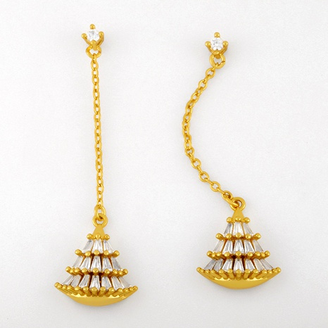 Boucles d'oreilles longues en forme d'éventail zircon NHAS291974's discount tags