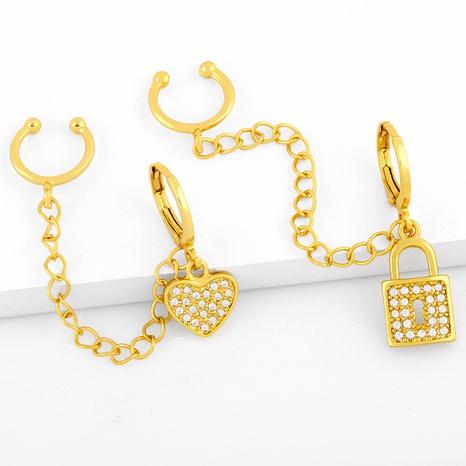fashion simple peach heart moon ear buckle NHAS291975's discount tags