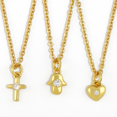 titanium steel cross heart necklace NHAS291985's discount tags